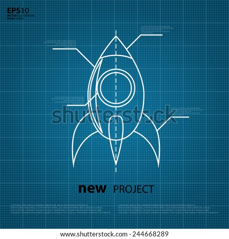 Vector Blueprint Of The Spaceship Logo Vector