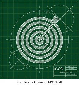 Vector blueprint target with dart icon . Engineer and architect background.