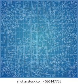 Vector blueprint with town topography
