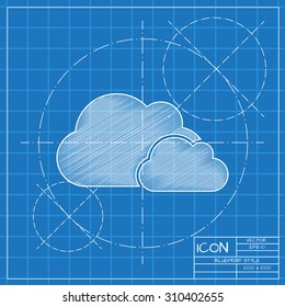 Vector blueprint two clouds icon . Engineer and architect background.