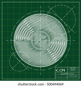 Vector blueprint vinyl icon . Engineer and architect background.