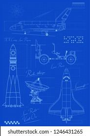 Vector Blueprints Spacecrafts Drawings, Schemes