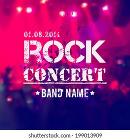 Vector blurred background with rock stage and crowd. Rock concert design template with watercolor splatter and place for text.