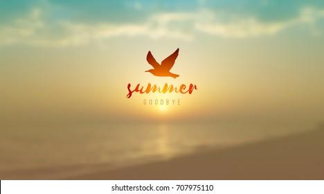 vector blurred sunrise seascape and seagull silhouette