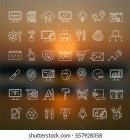 Vector blurred sunset background with Internet technology and programming white linear icons.. Unfocused sun and sea pattern.  Html, php, development line style symbols. Seo and optimization elements.