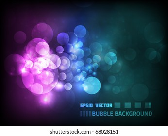 Vector blurry bokeh circles against dark background, colored pink and blue