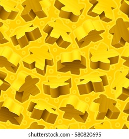 Vector board games background of yellow meeples. Seamless pattern of wooden pieces for gift wrapping or wallpaper
