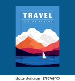 Bateau image vectorielle sur fond de montagnes, rivière et paysage de nuages. Voyages — découvrez l'arrière-plan du monde avec lettrage pour carte ou affiche