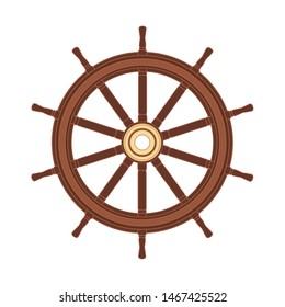 vector boat handwheel, ship wheel helm. Sea, ocean symbol