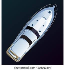 Vector boat. Top view