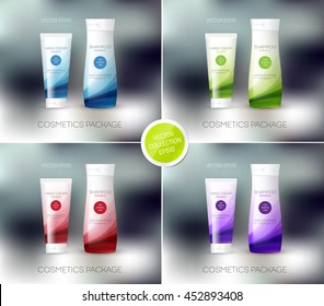 Vector body care cosmetics designs collection. Tube cream and shampoo bottle. Packaging templates.