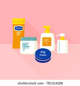 vector body cream, moisturizing lotion bottles set / emollient for dry skin / skincare products / isolated, sign and icon template