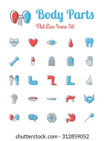 vector body parts icons set flat line style