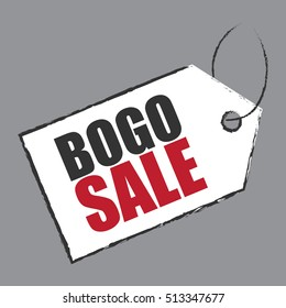 Vector : BOGO Sale, Buy 1 Get 1 Sale Tag Infographics Sign or Icon