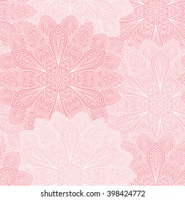 Vector boho chic flower seamless pattern. Elegant floral background for wallpaper, gift paper, fabric print, furniture, curtains. Mandala design element. Unusual flourish ornament. Light pink, white