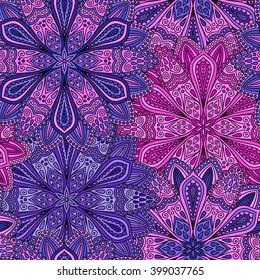 Vector boho chic flower seamless pattern. Elegant floral background for wallpaper, gift paper, fabric print, furniture, curtains. Mandala design element. Unusual flourish ornament. Pink, lilac, blue