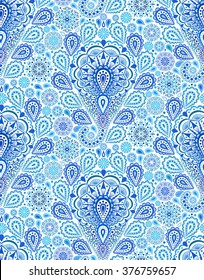 Vector boho chic paisley seamless pattern. Elegant oriental background for wallpaper, gift paper, fabric print, furniture. Mandala design element. Unusual flourish blue ornament. Sea water motif.