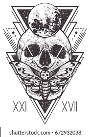 Vector boho design of skull with hawk moth and sacred geometric elements, hipster triangles, mystical symbols. Tattoo style graphic design. Vector monochrome art isolated on white.