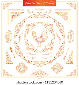 Vector boho, ethnic style elements for design. Ornamental vintage frame, borders, corners, square, arrows, dividers. Rooster, feathers, tribal beads, dreamcatcher, ribbon elements, red and orange
