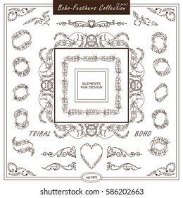 Vector boho, ethnic style elements for design. Ornamental vintage frame, borders, corners, square, dividers. Rooster, feathers, tribal beads, dreamcatcher, ribbon elements, different in every set