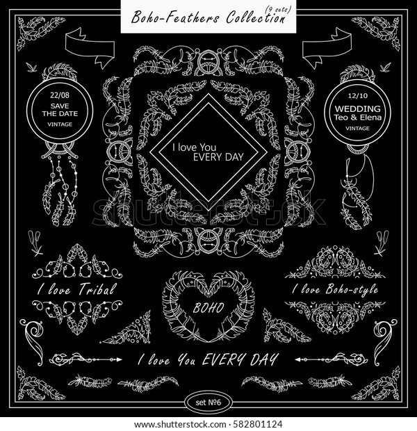 Vector boho, ethnic style elements for design. Ornamental vintage frame, borders, corners, square, dividers. Rooster, feathers, tribal beads, dreamcatcher, ribbon elements, black chalkboard style