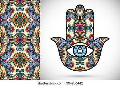 Vector boho hamsa hand, protection amulet, symbol of strength and happiness with seamless geometric pattern.