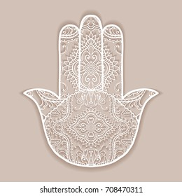 Vector boho hamsa hand, protection amulet, symbol of strength and happiness with tribal ethnic doodle ornament. Hand drawn ornate hand with shadow. Isolated design element