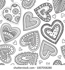 Vector boho ornamental hearts seamless pattern. Can be printed and used as wrapping paper, wallpaper, textile, fabric, etc.
