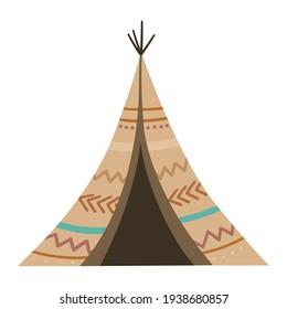 Vector boho wigwam. Bohemian teepee icon isolated on white background. Native American hut illustration.