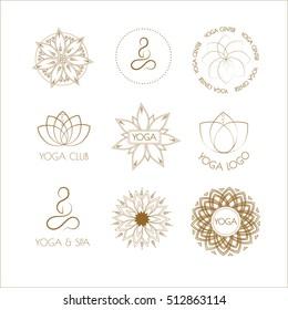 Vector boho yoga patterns on white background