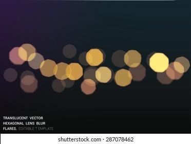 Vector  bokeh blured lights. realistic hexagonal aperture effect