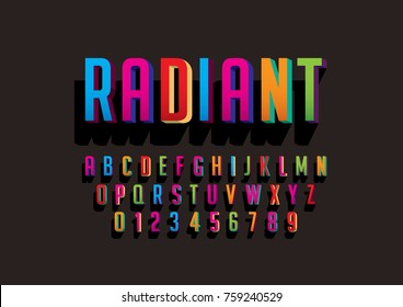 Vector of bold colorful font and alphabet