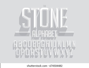 Vector of bold emboss font and alphabet