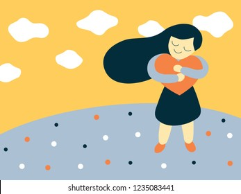 Vector bold flat style illustration of a cartoon girl hugging a big heart shape representing love yourself and self esteem concept