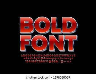 Vector Bold Font. Red and Silver 3D Alphabet Letters, Numbers and Symbols.
