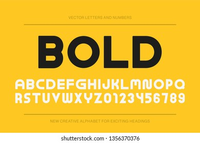 Vector bold modern font. Trendy english alphabet. Simple minimalistic latin letters and numerals. New creative signs typeface