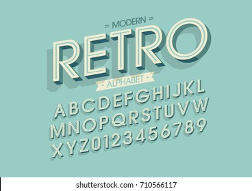 Vector of bold retro font and alphabet