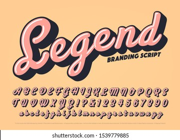 Vector bold script alphabet. Legend font is a cursive branding calligraphy lettering style with a retro vibe. Warm colored thick typography with highlights and cast shadows.