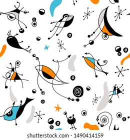 Vector bold seamless pattern surrealistic art style with abstract shapes, eyes, fish, arrows, dots, spirals, lines and stars in expresionism and modernism  style, inspired in Joan Miro art.