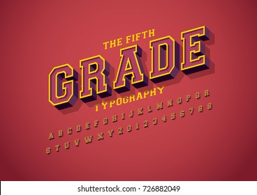 Vector of bold vintage font and alphabet