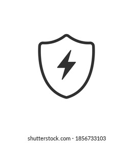 Vector bolt lightning and shield icon, protection symbol vector logo template icon. Stock vector illustration isolated on white background.