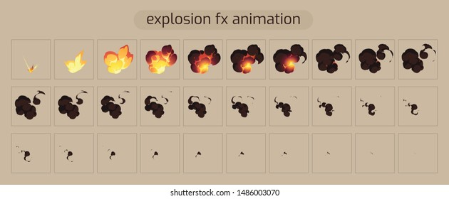 Vector Bomb Explosion sprite sheet. Explode effect animation with smoke for Cartoon and Game explosion frames. illustration- Vector