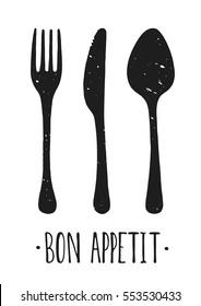 Vector Bon appetit. Hand drawn. Poster. Lettering. Illustration. Fork and knife.