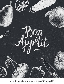 Vector bon appetit poster, banner. Black and white. Hand drawn fruit and vegetables, vegetarian, healthy food. Lettering