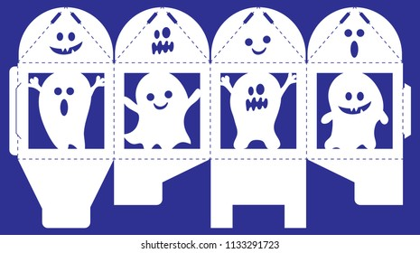 Vector bonbonniere with Halloween spooks. Laser cut template isolated on blue background. Openwork box with silhouette of ghosts, scare characters with assorted expressions. Gift cube to print, fold.