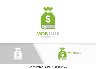 Vector book and bag logo combination. Sack and market symbol or icon. Unique bookstore, library and money logotype design template.