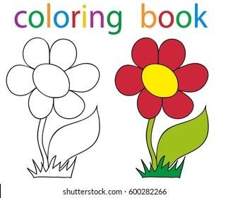 Vector, book coloring flowers just