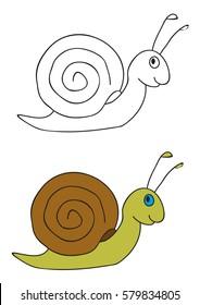 vector, book coloring snail cartoon