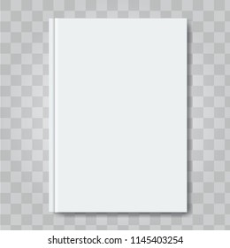 Vector Book cover mock up. Ready template blank white vertical design template.