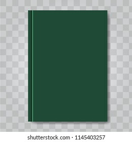 Vector Book cover mock up. Dark green color. Ready template blank white vertical design template.